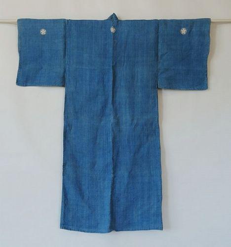 Japanese Antique Textile Asa Hemp Man's Kimono with Crests