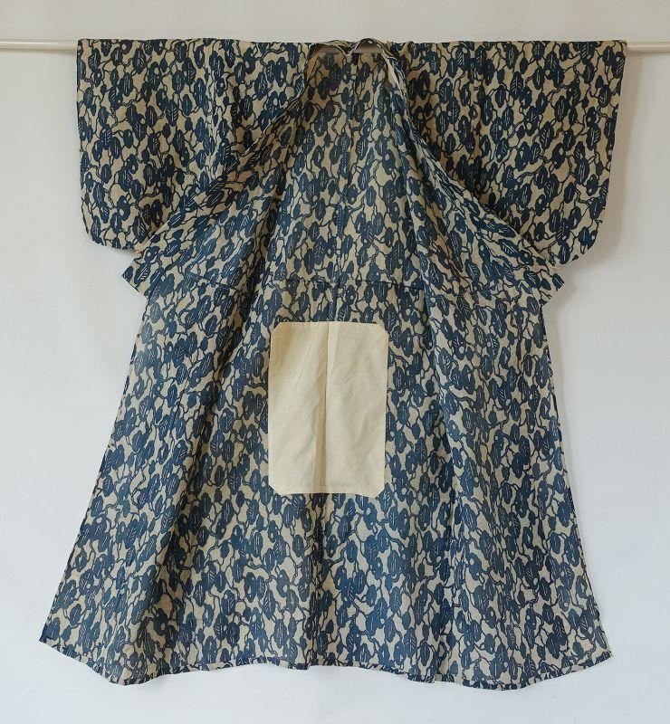 Japanese Vintage Textile Asa Katazome Kimono Indigo