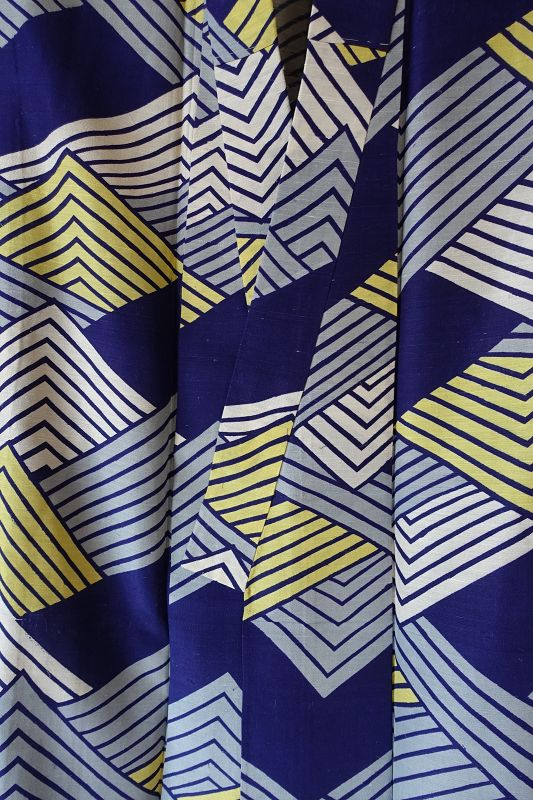Japanese Vintage Textile Silk Kimono with Katazome Wave Pattern