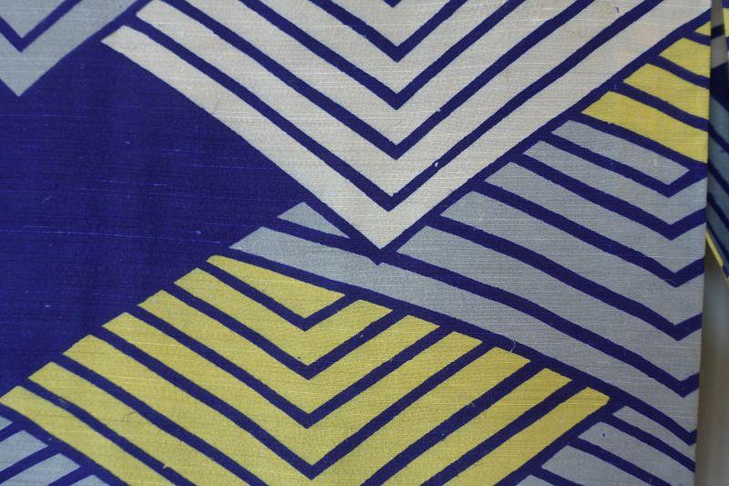 Japanese Vintage Textile Silk Kimono with Katazome Wave Pattern