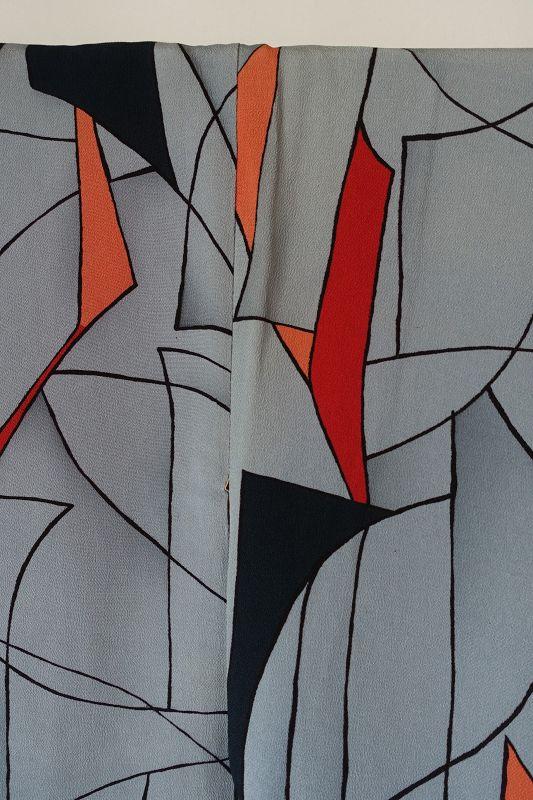 Japanese Vintage Textile Silk Crepe Kimono with Modern Design
