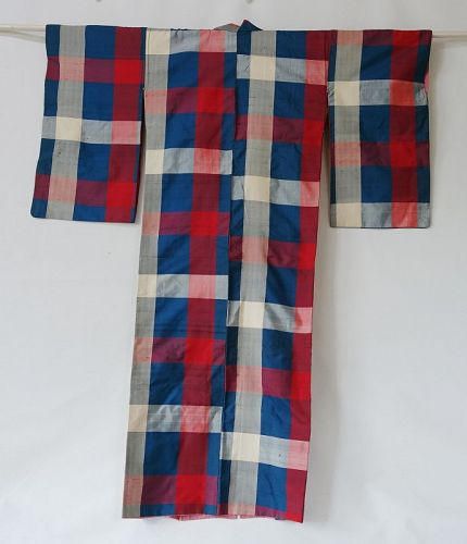 Japanese Vintage Textile Meisen Kimono Check Pattern