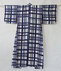 Japanese Vintage Textile Cotton Kimono Yukata with Check