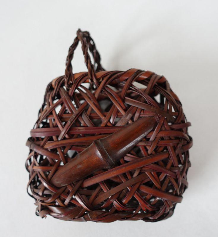 Japanese Vintage Two Small Bamboo Flower Baskets Ikebana