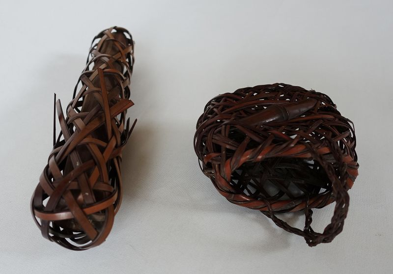Japanese Vintage Two Small Bamboo Flower Baskets Ikebana