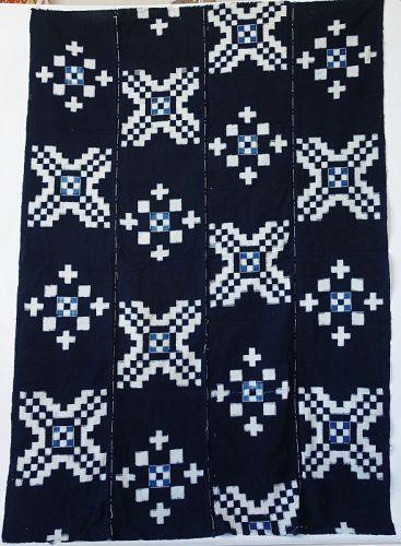 Japanese Antique Textile Kurume Kasuri Futonji Indigo