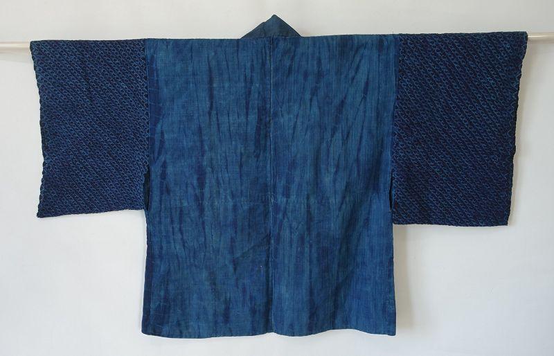 Japanese Antique Textile Shibori Han-juban Vegetable Indigo