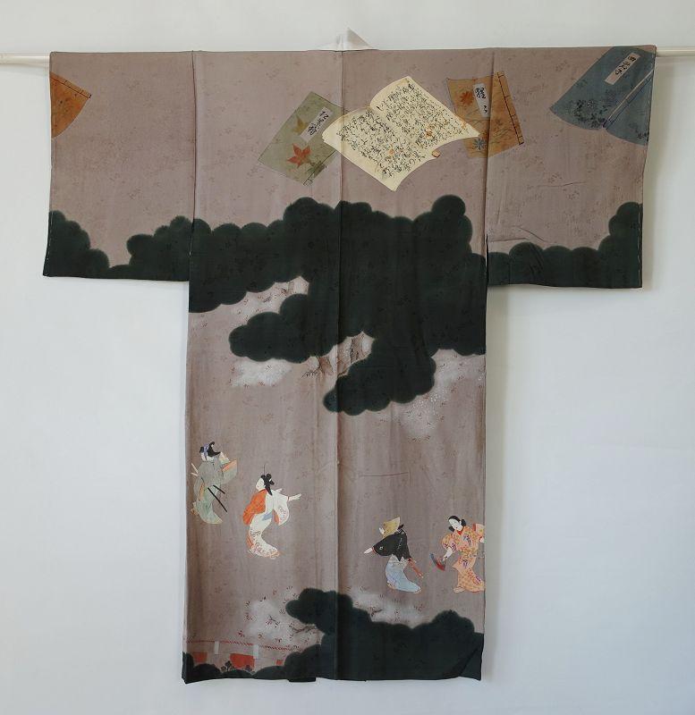 Japanese Vintage Textile Silk Juban with Yuzen-zome Furyu Odori