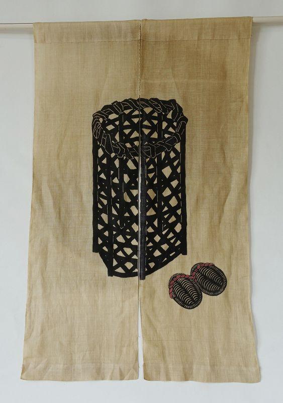 Japanese Vintage Textile Asa Noren with Katazome Folk Art