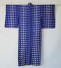 Japanese Vintage Textile Meisen Kimono Dots Navy Blue Ground