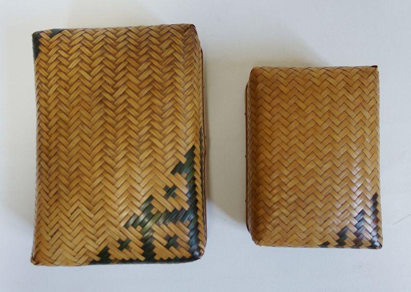 Japanese Vintage Small Pair of Bamboo Basket Box