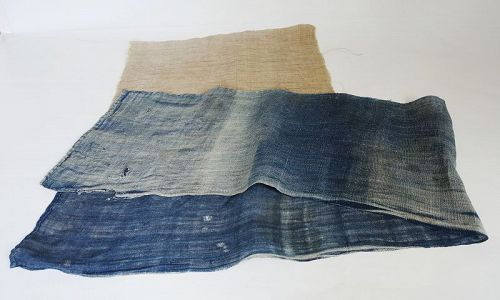 Japanese Antique Textile Asa Indigo Hemp Cloth of Large Furoshiki
