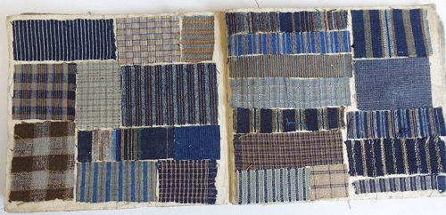 Japanese Antique Textile Sample Book Shima-cho with 188 fragments