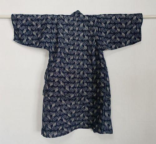 Japanese Antique Textile Omi-gasuri Asa Child's Kimono