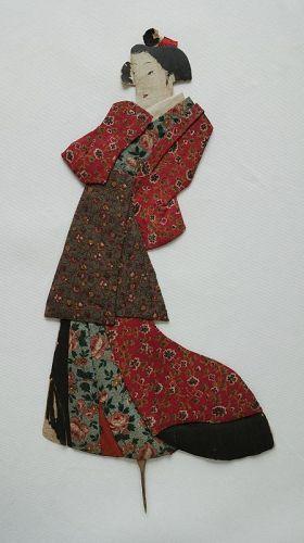Japanese Antique Textile Oshi-e Doll Made of Sarasa Fragments-1