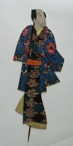 Japanese Antique Textile Oshi-e Doll Motif of Civilian in Edo-Period-2