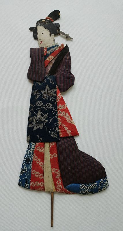 Japanese Antique Textile Oshi-e Doll Made of Silk Fragments-3