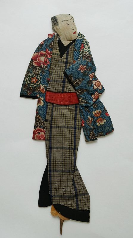 Japanese Antique Textile Oshi-e Doll  Made of European Print-4