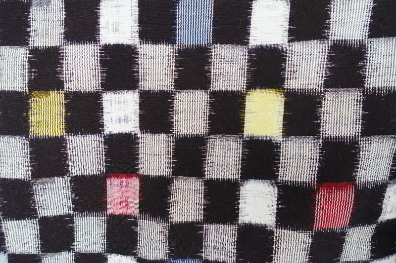 Japanese Vintage Textile Cotton Kasuri Kimono Checker Pattern
