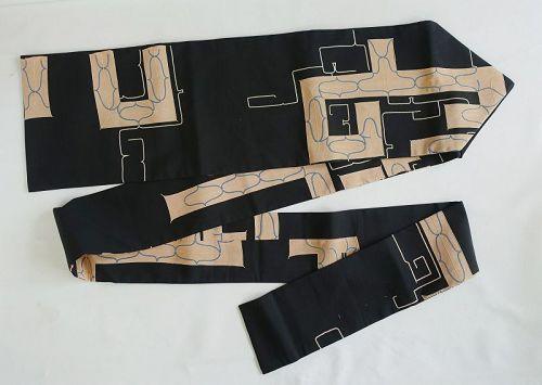 Japanese Vintage Textile Silk Nagoya Obi with Ainu Design
