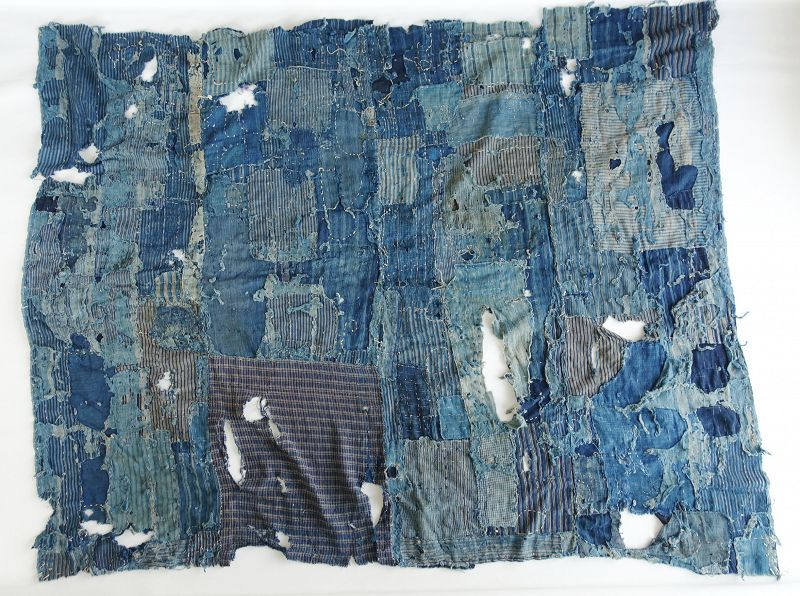 Japanese Antique Textile Boro Hand-Spun Cotton Vegetable indigo