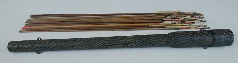 Japanese Antique Mingei Folk Craft Quiver Made of Paper String