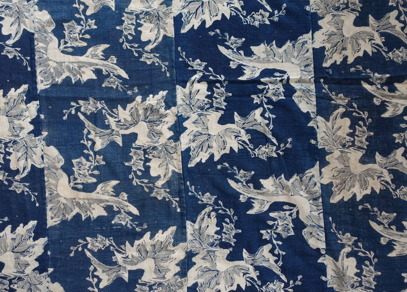 Japanese Antique Textile Cotton Katazome Futonji with Flower Motif