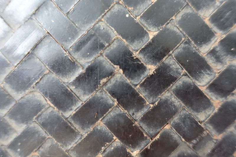 Japanese Antique Bamboo Basket Wicker Trunk with Washi Lining