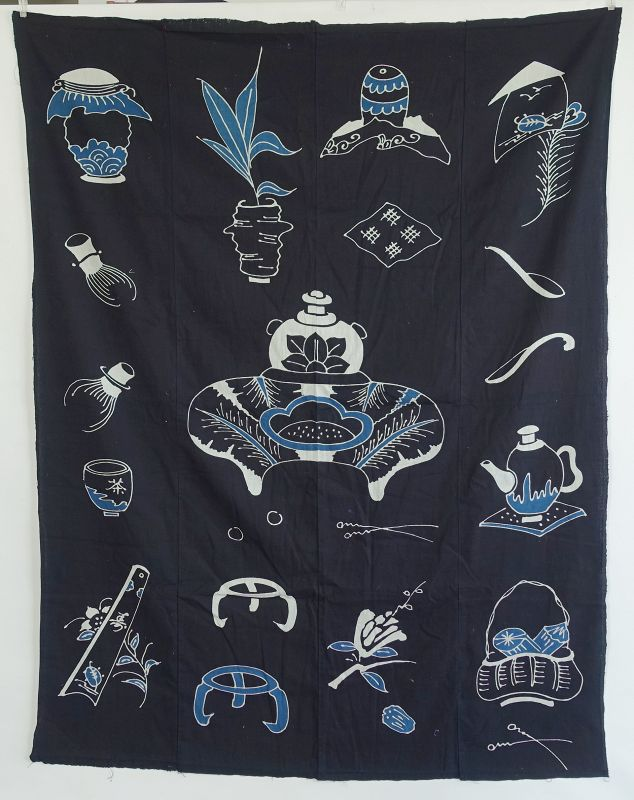 Japanese Antique Textile Tsutsugaki Futonji with Tea Utensil Motif