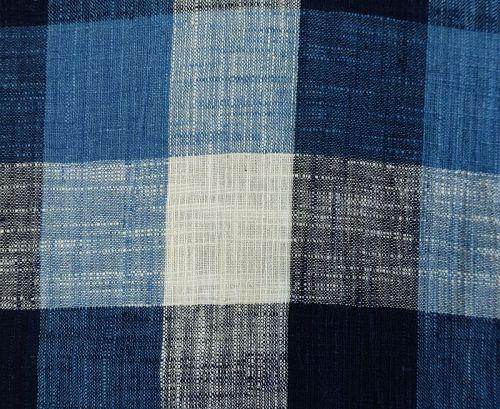 Japanese Vintage Textile Unlined Kimono Indigo Bold Check