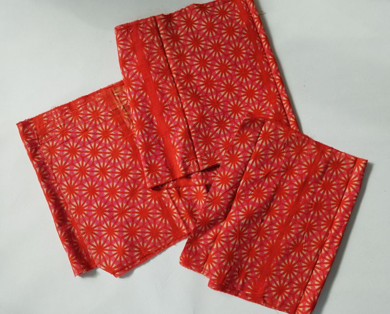 Japanese Vintage Textile Three Panels of Beni-Itajime Cloth