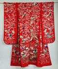 Japanese Vintage Textile Furisode Kimono with Embroideries