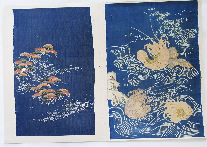Japanese Antique Textiles Two Fragments of Edo Kosode