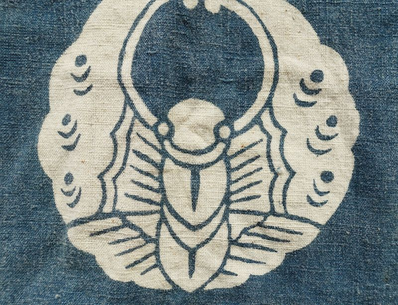 Japanese Antique Textile Cotton Bag Made of Hand-spun Cotton