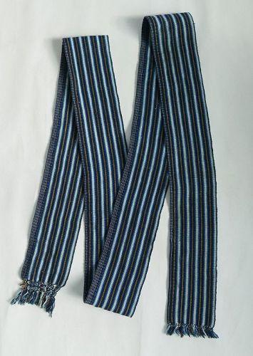 Japanese Antique Textile Shonai Obi Hand-woven of Washi & Cotton