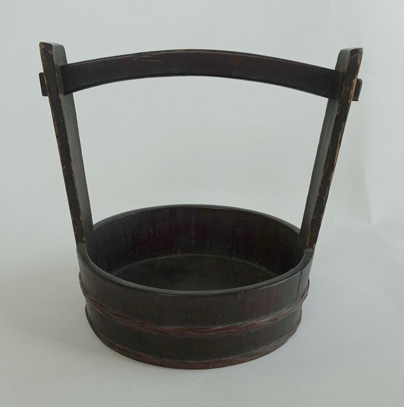 Japanese Antique Handicraft  Wood Oke Container with Handle