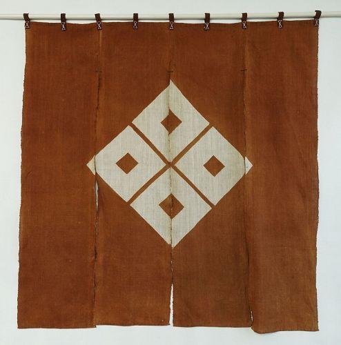 Japanese Antique Textile Cotton Noren with Family Crest Yotsume
