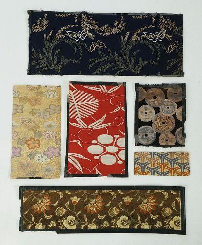 Japanese Antique Textile Fragments of Meiji Silk Brocade Obi Cloth