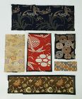 Japanese Antique Textile Fragments of Meiji Silk Brocade Obi Cloth