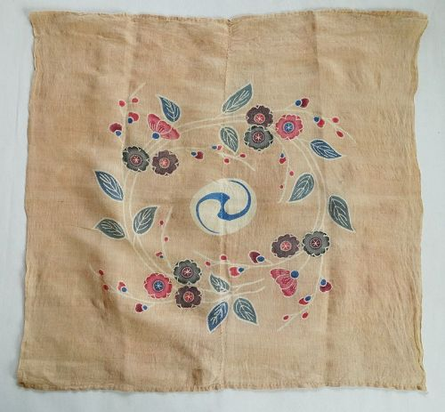 Japanse Antique Textile Okinawan Bingata Uchikui Wrapping Croth