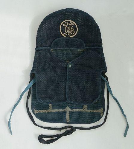 Japanese Antique Textile Sashiko Indigo Fireman's Hood Zukin