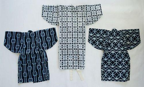 Japanese Vintage Textile Three Child's Cotton Kimono with Kasuri