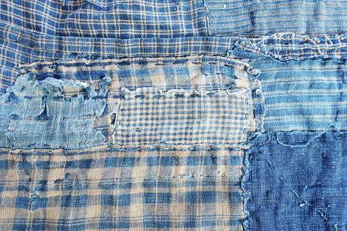 Japanese Antique Textile Small Boro Vegetable Indigo & Brown Cotton