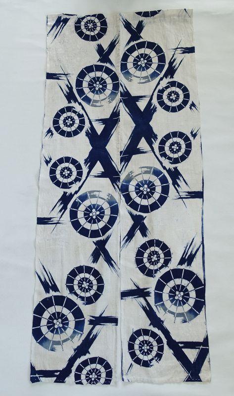 Japanese Vintage Textile Cotton Cloth with Indigo Katazome Pattern