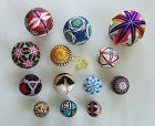 Japanese Vintage Toy Temari Ball with Colorful Geometric Embroidery