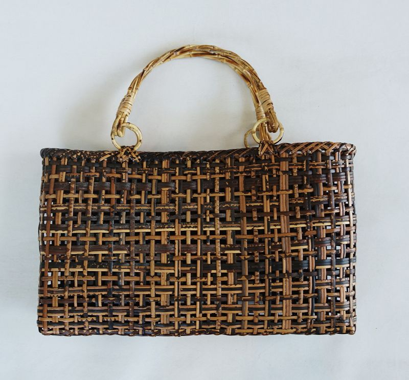 Japanese Vintage Folk Craft Bag Made of Bamboo Splits