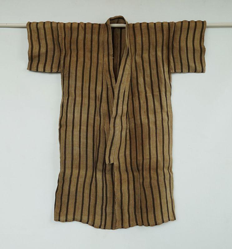 Japanese Vintage Textile Okinawan Bashofu Kimono with Stripes