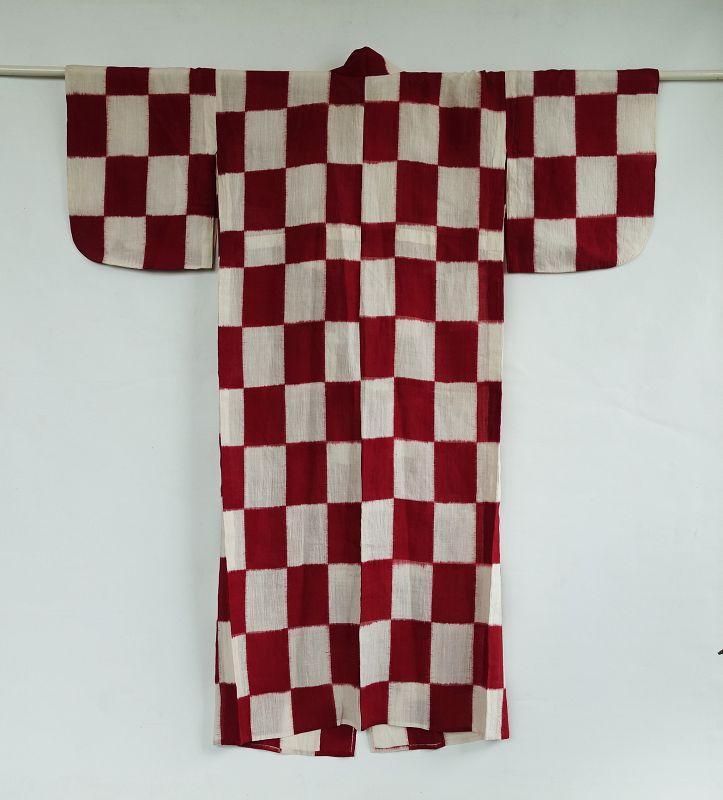 Japanese Vintage Textile Ojiya-Chijimi Unlined Kimono