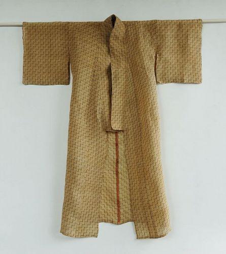 Japanese Vintage Textile Okinawan Bashofu Kimono with Kasuri