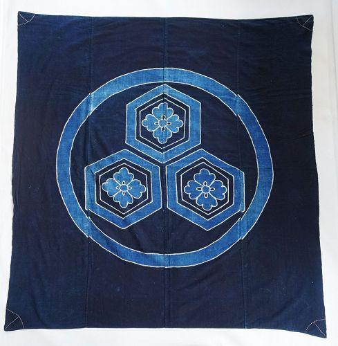 Japanese Antique Textile Cotton Indigo Furoshiki with Crest & Sashiko
